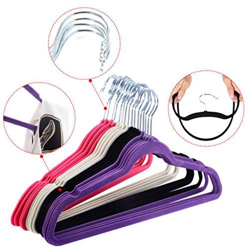 60 PCS Non Slip Velvet Clothes Suit Pants 4 colors the Shape Suit/Shirt/Pants Hangers Multicolor by Phumon567 (Image #9)