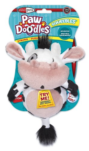 Pawdoodles Squeebles Dog Toy, Cow, My Pet Supplies
