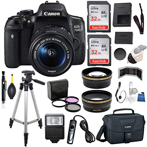 Canon EOS 750D (Rebel T6i) 18-55mm is STM Lens (Black) Professional Accessory Bundle Package Includes: SanDisk 32gb Card (2CT) + 50'' Tripod + Canon Bag and More