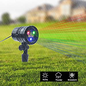 ZHIKE Christmas Projector Lights Blue Green & Red Laser Lights Laser Show Star Light Shower RF Wireless Remote 9 Patterns Outdoor Waterproof Decoration for Garden Decorations