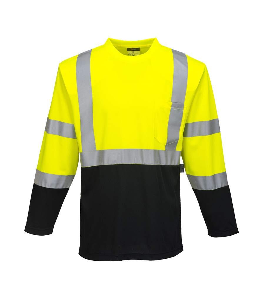 Brite Safety High Visibility Long Sleeves Shirts - Reflective Shirt for Men and Women Hi Vis Work Clothes (Yellow/Black,Medium)
