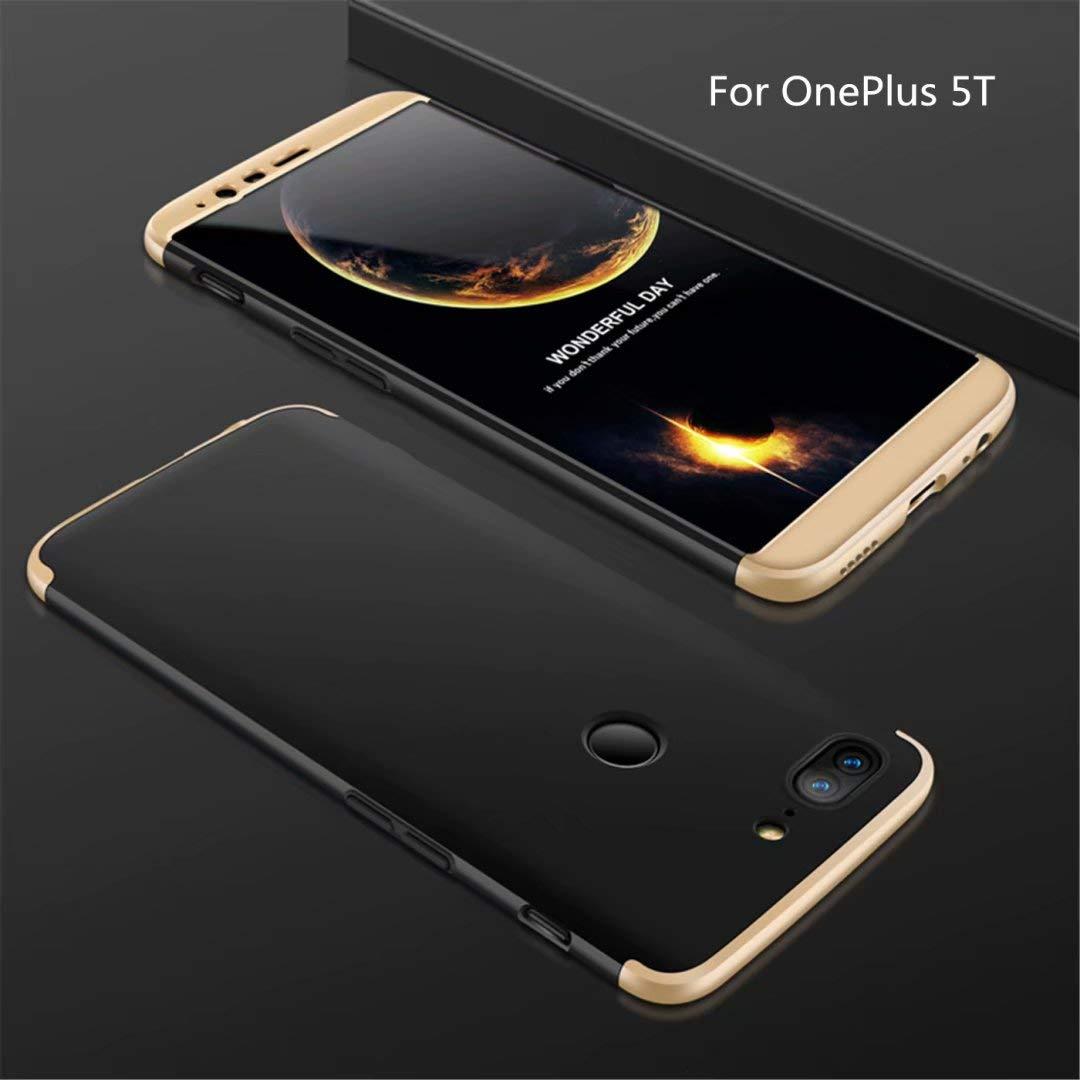 Funda OnePlus 5T 360 Grados Oro Negro Ultra Delgado Todo Incluido Caja del teléfono de la protección 3 en 1 PC Case JOYTAG