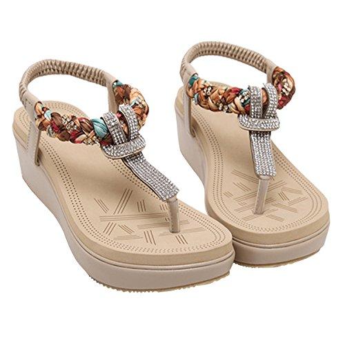 LUXINYU Women's Bohemian Platform Sandals Rhinestone Bead Wedge Shoes Thong Sandal Apricot US 7.5 by LUXINYU (Image #3)