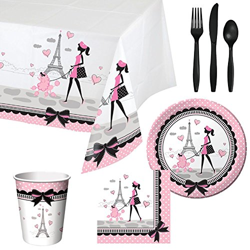 Party in Paris Tableware Party Bundle for 16: Includes Plates, Napkins, Cups, Tablecover, and Cutlery