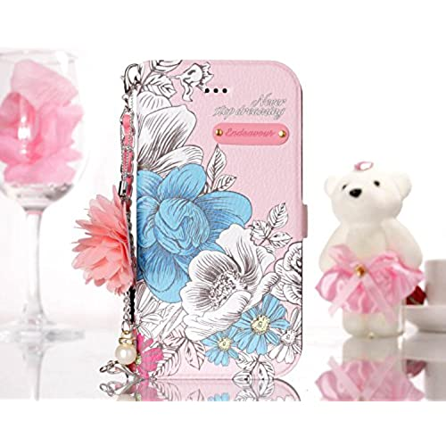 "30%OFF JuSha for Apple iPhone 6/iPhone 6S 4.7"" Case PU Leather Wallet Magnetic Cover Skin (Pink Blue Rose)"