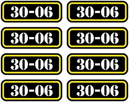 Eight Pack Brass Ammo Can Sticker Set Decal Self Adhesive Molon Bullet Type 2 FA Graphix