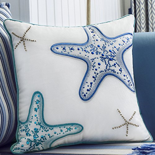 Velvet Decorative Christmas Stocking (Valery Madelyn 18x18 Inch Ocean Park Theme Velvet Decorative Pillow Cover for Sofa Couch, Embroidery Blue Green Starfish with Wooden Bead and Piping)
