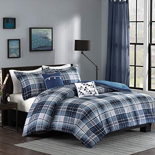 Kaputar Beautiful Modern Blue Light Grey Navy Plaid Stripe Comforter Set Pillows   Model CMFRTRSTS - 2297   Twin Extra Long ()