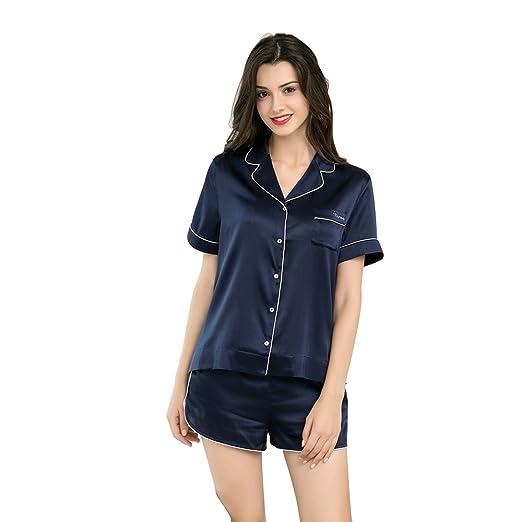 4b7127106580 PINCO VON Women s Silk Sleepwear Short Sleeve Button-Down Silk Pajama Set  Box (S