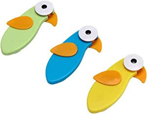 WUSIO 3 pcs Safe Multi-Function Furniture Refrigerator Children Kids Anti-Pinch Hand Cabinet Lock Cartoon Bird Safety Lock(3pcs,Blue&Green&Yellow)