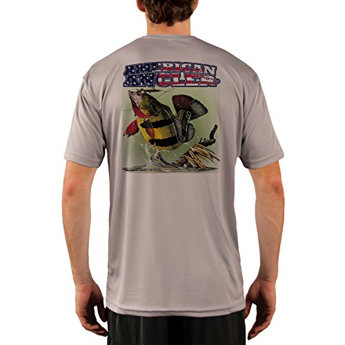 American Angler Men's Peacock Bass UPF 50+ Short Sleeve T-Shirt Large Athletic Grey (Best Peacock Bass Fishing In Miami)