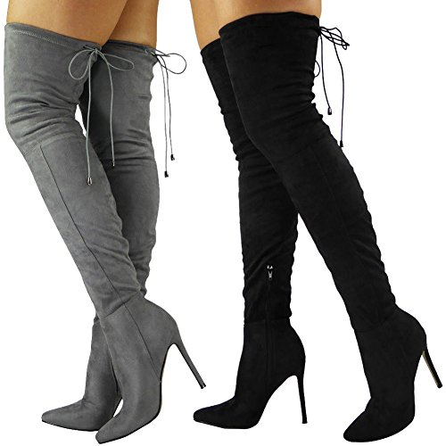 Womens Ladies Thigh High Over The Knee Boots Stiletto Heel Lace Up Shoes Size 3-8 Black 2LjsGNh8