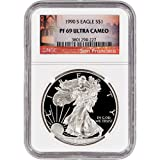 1990 S American Silver Eagle Proof $1 PF69 UCAM - San Francisco Label NGC