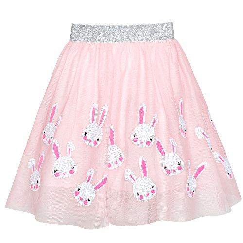 Girls Skirt Pink Bunny Rabbit Sequins Sparkling Tutu Dancing Size 7-8