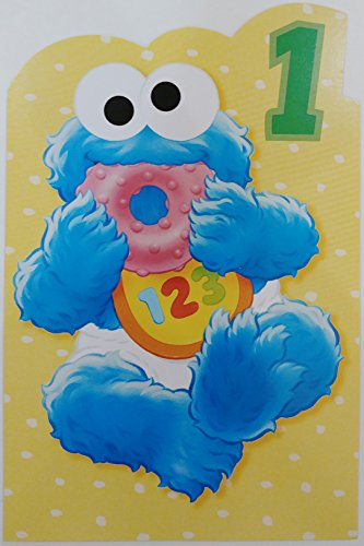 Baby Cookie Monster - Happy First Birthday Greeting Card