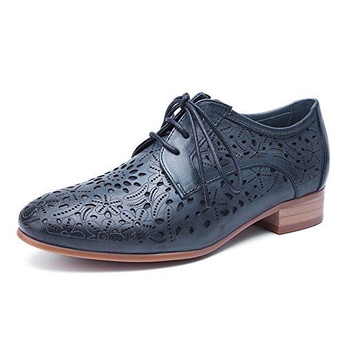 (Mona flying Womens Leather Perforated Lace-up Saddle Oxfords Brogue Wingtip Derby Shoes Blue)
