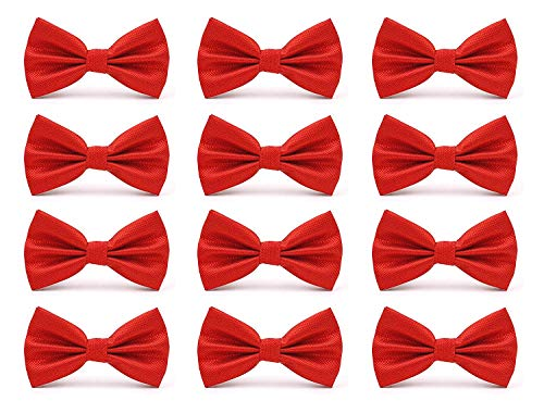 AVANTMEN Mens Bowties Formal Satin Solid - 12 Pack Bow Ties Pre-tied Adjustable Ties for Men Many Colors Option (Red)