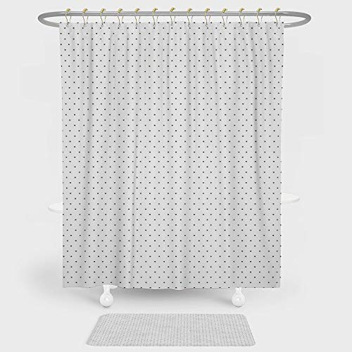 White Colonial Style Combination - iPrint White Shower Curtain Floor Mat Combination Set Minimalistic Pattern Small Polka Dots Simple Vintage Style Design Decorative decoration daily use Forest Green White