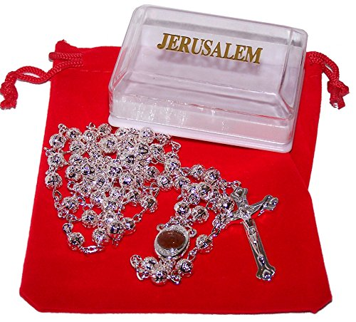 Long Silver Tone Beads Rosary with Soil from The Holy Land/Necklace with Velvet Bag and Rosary Box and Certificate