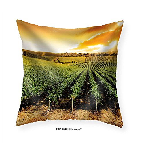 VROSELV Custom Cotton Linen Pillowcase Sun Setting Over a Winery That is Filled with Vines - Fabric Home Decor 20