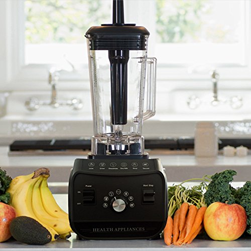 Cook@Home 2.5 HP 2000W High Performance Multifunction Commercial Blender and Processor Mixer - Nutrition Blender for Ice, Juices, Cocktails, Smoothies, Hot Soups, Baby Foods, Sauces and more (Black)