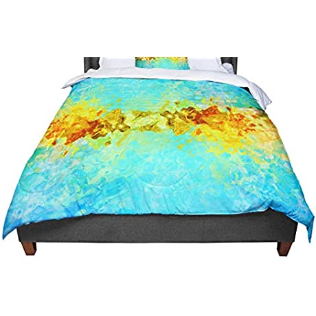 KESS InHouse Ginkelmier Colorful Earthly Abstract Blue Yellow Abstract King Cal King Comforter 104 X 88