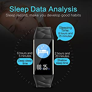 2018 NEW Fitness Tracker HR, Heart Rate Monitor Activity Band Blood Pressure Sleep Monitor Pedometer, 0.96inch TFT Colorful OLED Screen Waterproof Bluetooth Smart Bracelet for Kids Women Men (Black)
