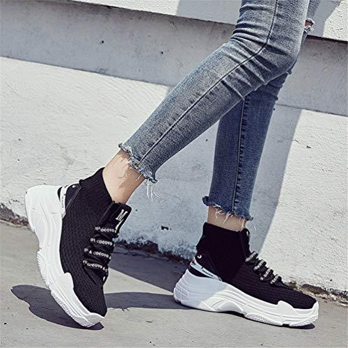 Deslizamiento Zapatos En Zapatillas Transpirable Zapatillas Mujeres Punto Zapatos Unisex Casual Alto De Zapatillas Calcetines Negro Ligeros IwzI5xqa8