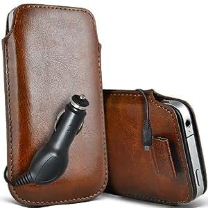 ONX3 Acer Liquid Z3 Leather Slip cuerda del tirón de la PU de protección en la bolsa Quick Case Desc y 12v Micro USB cargador de coche (Brown)