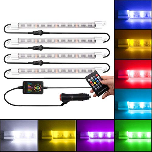 FICBOX Car LED Strip Lights, 4pcs 48 LED Multi Color Music Car Strip Light Under Dash Lighting Waterproof Kit with Sound Active Function and Wireless Remote Control,Car Charger Included