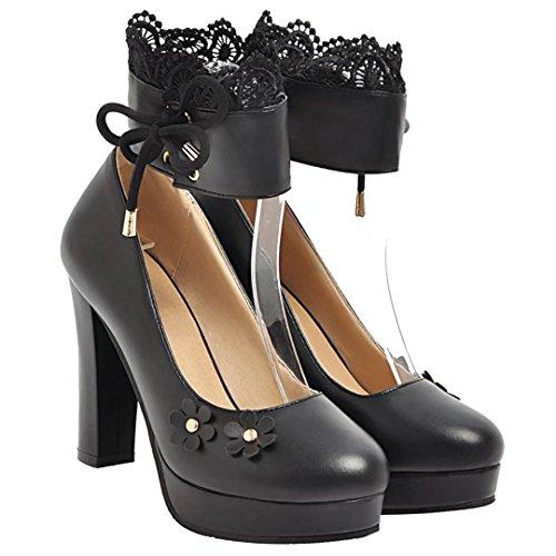 AIYOUMEI Damen Knöchelriemchen Pumps mit Spitze und Blumen High Heels Plateau Schuhe Schwarz