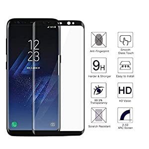 [2 Pack]Galaxy S8 Screen Protector, Full Coverage HD Clear 3D Tempered Glass,[Edge-to-Edge][Easy Installation][High Definition][Anti-Scratch][9H Hardness] Screen Protector Compatible Samsung Galaxy S8 from YerDut