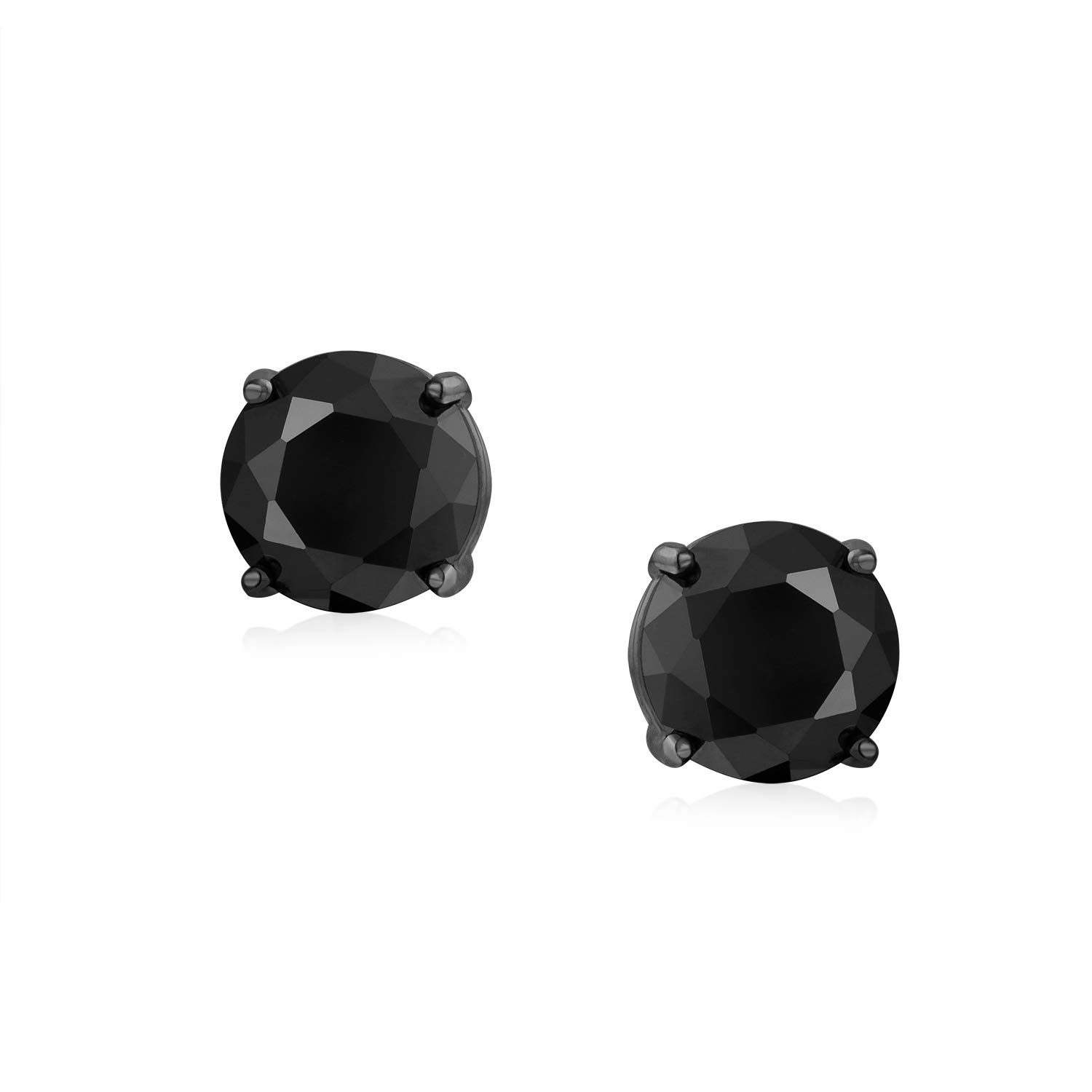950037b51 Amazon.com: .75CT Black On Black Round Solitaire Cubic Zirconia Stud  Earrings For Men Women CZ Screw Back Plated 925 Sterling Silver: Jewelry
