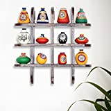 ExclusiveLane 12 Terracotta Warli Handpainted Pots With Antique Wooden Frame Wall Shelf - Wooden Wall DÃcor Art Decorative Shelves Vases Home DÃcor