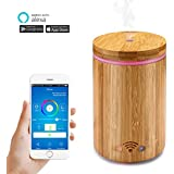 Houkiper Smart Aroma Diffuser - 160ml WiFi Ultrasonic Essential Oil Diffuser Humidifier Mist Atomizer Works with Alexa, App Remote Control Voice Control with Colorful LED Light / Waterless AUTO Off
