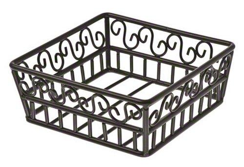 Basket Scroll - American Metalcraft (SBS70) Wrought Iron Square Basket w/Scroll Design