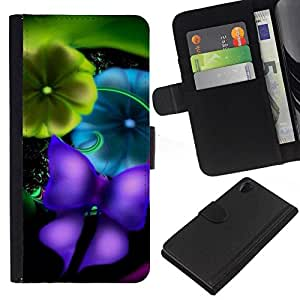 All Phone Most Case / Oferta Especial Cáscara Funda de cuero Monedero Cubierta de proteccion Caso / Wallet Case for Sony Xperia Z2 D6502 // Blurry Vibrant Teal Butterfly
