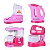 toy kitchen coffee maker - Assorted Kitchen Appliance Toys with Kettle Pot, Coffee Maker, Mixer, Blender Play Kitchen Accessories Set with Light and Sound 4 Pcs Batteries Included