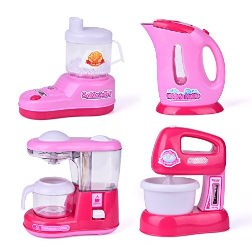 Kitchen Appliance Toys for Girls, Coffee Maker, Blender, Play Kitchen Accessories for Toddlers and Kids, 3 + Year Old Girl Gifts