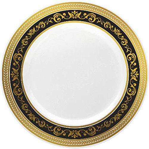 Royalty Settings Royal Collection Heavy Duty Plastic Plates For Weddings For 20 Persons  Includes 20 Dinner Plates  20 Salad Plates  40 Forks  20 Spoons  20 Knives  Black And Gold Rim