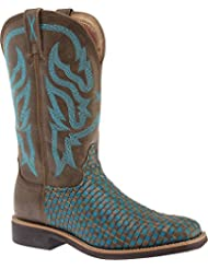 Twisted X Womens Turquoise Basketweave Top Hand Cowgirl Boot Square Toe - Wth0011