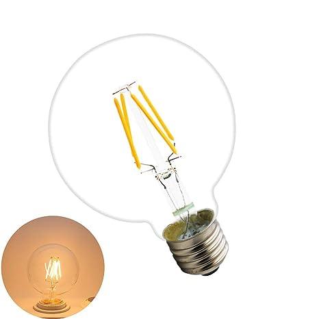 E27 4W Bombilla Filamento LED, G80 400 Lumen, Equivalente 40W, Blanco Cálido 2200K