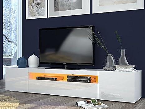 Porta tv moderno Mojito, mobile soggiorno Bianco, portatv design.Dimensioni  in cm (LAP): 200 - 36,2 - 40