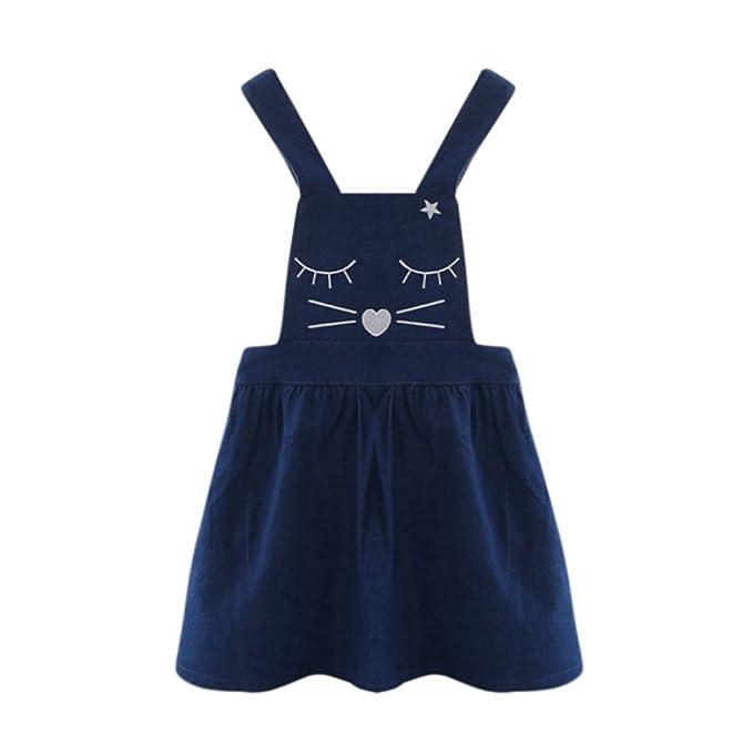 Vovotrade El niño pequeño Embroma la niña Gato Mezclilla Impresión Vestido de Princesa Sin Mangas Mono Vaquero Vestidos 3-10 años