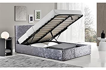 brand new 3bc51 0d158 FurnitureDepot1 Luxury 4ft Small Double Crushed Velvet Ottoman Bed with 25  cm Memory Foam Mattress FTA