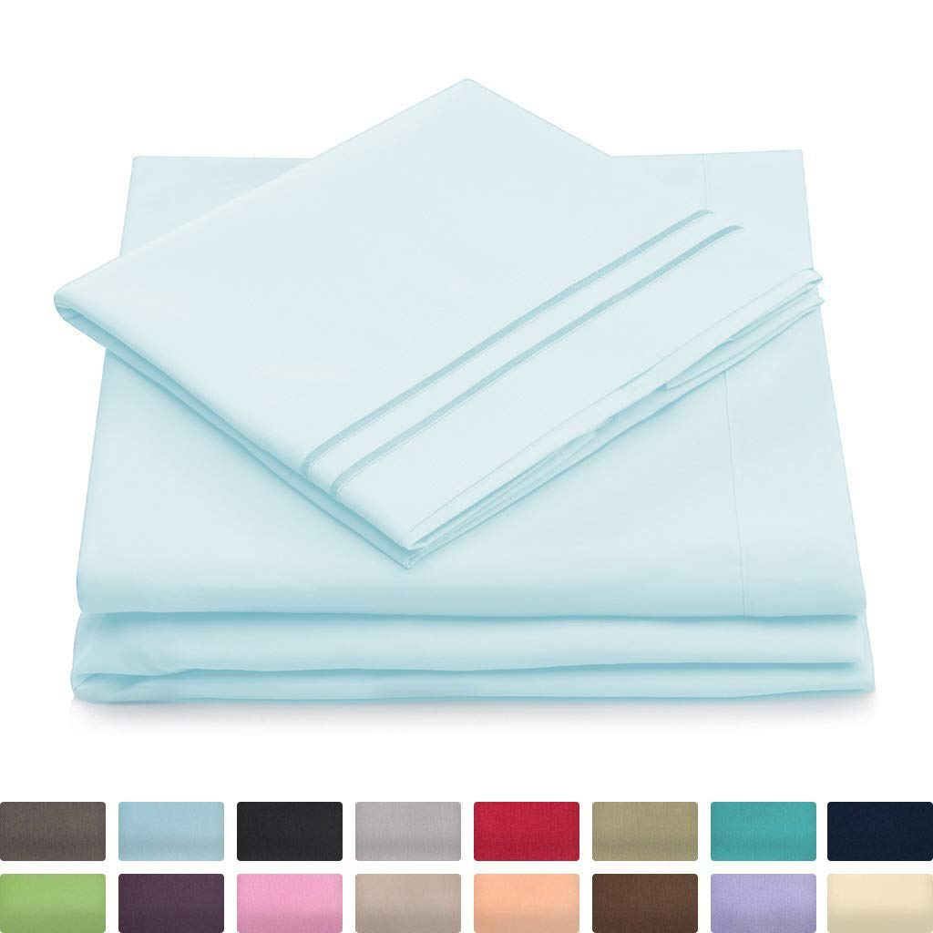Full Size Bed Sheets - 1500 Collection Luxury Double Brushed Microfiber Bedding - Deep Pocket Super Soft Hotel Bedsheets - Hypoallergenic - Wrinkle, Fade & Stain Resistant - Baby Blue