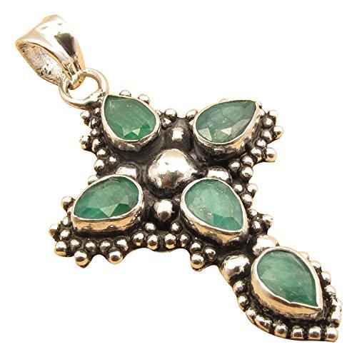 ShantiInternational Silver Plated 5 Stone Designer Cross Pendant ! Natural Multi Color Choice Drop Gemstones ! Handmade Jewelry