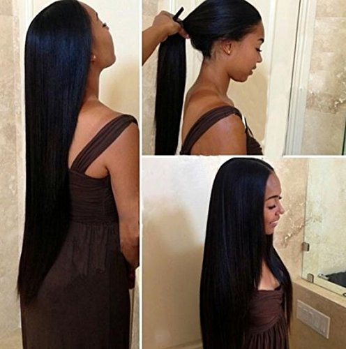 Price comparison product image Mike & Mary 7A Top Brazilian Straight Hair Lace Front Wigs for Black Women with Baby Hair Human Hair Lace Wigs (22inch, #1b)