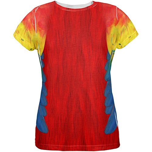 Halloween Scarlet Macaw Parrot Feathers Costume All Over Womens T Shirt Multi LG