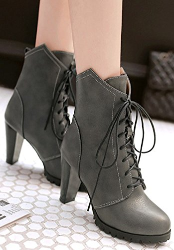 High Women's Heel Grey Round Booties Dressy High Easemax Block Up Ankle Lace Toe YO6wdqw